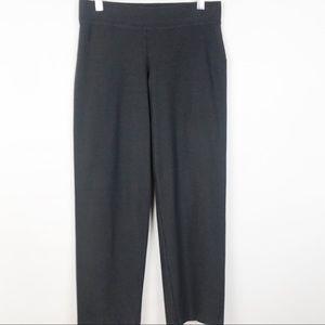 Eileen Fisher Gray Wide-Leg Cropped Stretch Pants